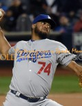 Los Angeles Dodgers closer KENLEY JANSEN retires New York Mets first baseman Luas Duda in the bottom of the 9th inning to end the game. KENLEY pitched 1 1/3 innings allowing no runs, no hits, and striking out 2 batters. The Dodgers defeated the Mets 3-1 and now go back to Los Angeles for the deciding game 5 of the series.(AP Photo/Dick Druckman)