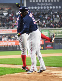 Boston Red Sox DAVID ORTIZ(BIG PAPI) and XANDER BOGAERTS celebrate homer