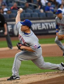 New York Mets BARTOLO COLON strikes out Yankees lead off hitter Brett Gardner
