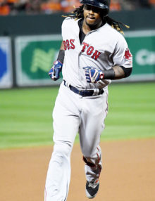 Boston Red Sox first baseman, HANLEY RAMIREZ, rounds third base after hitting his 29th home run in the seventh inning against the Baltimorre Orioles giving the Red Sox a 5-3 lead. Boston has won eight straight games giving them a 5 1/2 game lead over Toronto in the AL East.