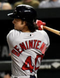 Red Sox rookie outfielder ANDREW BENINTENDI hits a two-out RBI single
