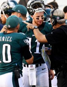 Philadelphia Eagles rookie quarterback, CARSON WENTZ, listens intently