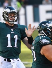 Philadelphia Eagles rookie quarterback,CARSON WENTZ, completes a pass to Darren Sproles