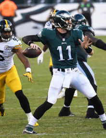 Philadelphia Eagles rookie quarterback,CARSON WENTZ, completes a pass in the third quarter
