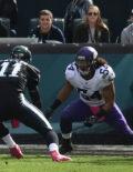 Eagles quarterback CARSON WENTZ scores on a one yard run
