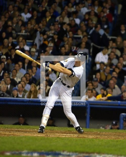 New York Yankees Paul O'neill homers in the fourth inning against the Seattle Mariners on October 22, 2001. The Yankees won 12-3 and will face the Arrizona Diamondbacks in the World Series.(AP Photo/Dick Druckman)