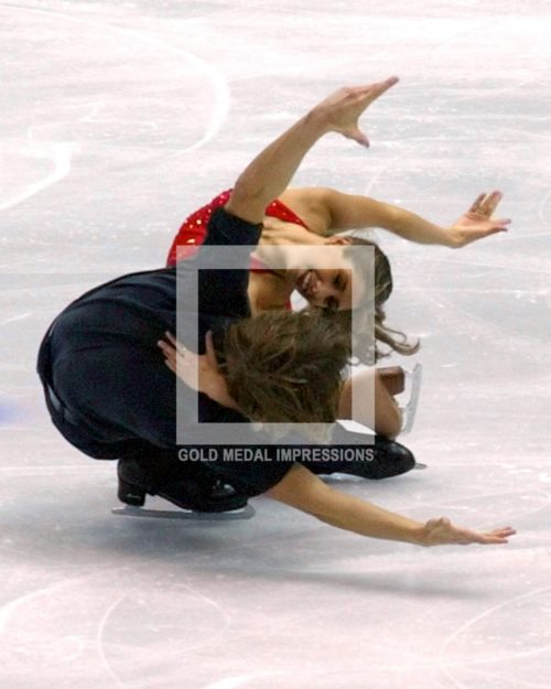 U.S. ice dance team Naomi Lang and Peter Tchernyshev compete iin the free dance program on February 18, 2002. The U.S. pair placed eleventh.