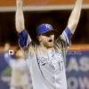 Kansas City Royals closer WADE DAVIS celebrates winning the 2015 World Series