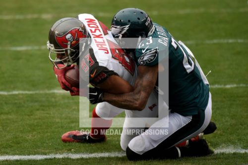 Tampa Bay Buccaneers wide receiver VINCENT JACKSON receives a 13 yard touchdown pass from quarterback Jameis Winston in the second quarter as Eagles cornerback NOLAN CARROLL attempts to defend. The Buccaneers went on to win 45-17.