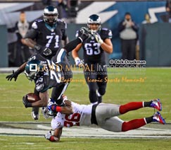 Philadelphia Eagles running back, LE SEAN MCCOY, leaps for a first down through the grasp of New York Giants safety ANTREL ROLLE, in the first quarter. The Eagles won 27-0.