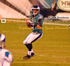 Philadelphia Eagles quarterback, MARK SANCHEZ, looks downfield for his receivers against the Carolina Panthers in the fourth quarter at Lincoln Financial Field. SANCHEZ completed 20 of 37 passes for 332 yards with 2 touchdown passes, no interceptions and a quaterback rating of 1.25 leading the Eagles to a 45-21 victory.