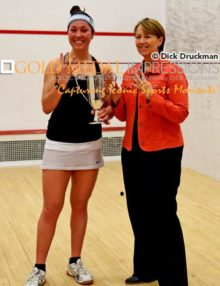 Harvard University senior, AMANDA SOBHY, receives the Ramsey Cup, from Princeton University Head Coach, Gail Ramsey, after winning the Collegiate Squash Association National Championship for the fourth consecutive year. Amanda is only the second women ever to win the championship for four consecutive years(the first being Gail Ramsey). Amanda is considered to be the finest collegiate women squash player ever and is currently ranked 10th in the world among women professional squash players.(AP Photo/Dick Druckman)