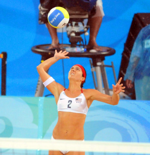 USA Misty-May Treanor serves against China in the gold medal match in Beijing. The USA team won 2-0 to win the Gold.