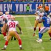 San Francisco 49ers quarterback, COLIN KAEPERNICK, throws pass to running back CARLOS HYDE, in the second quarter against the New York Giants. KAEPERNICK completed 15 of 29 attempts for 193yards and 1 touchdown leading the 49ERS to a 16-10 victory