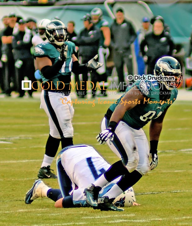 Philadelphia Eagles defensive end, FLETCHER COX, sacks Tennessee Titans quarterback, ZACH METTENBERGER, in the third quarter at Lincoln Financial Field. The Eagles went on to win 43-24.