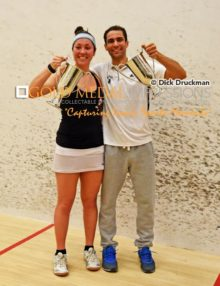 Harvard University AMANDA SOBHY and Bates College AHMED ABDELKHALEK hold their championship cups after winning the Collegiate Squash Association National Championship at Jadwin Squash Gym in Princeton University. Amanda and Ahmed are the number one collegiate squash players in the U.S.(AP PHOTOS/Dick Druckman)