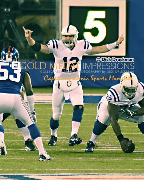 Indianapolis Colts quarterback, ANDREW LUCK, calls signals against the New York Giants in the first quarter at Metlife Stadium. LUCK completed 25 of 46 passes for 354 yards and 4 touchdowns leading the Colts to a 40-24 victory.