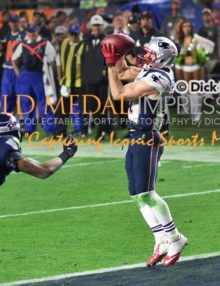 New England Patriots wide receiver, JULIAN EDELMAN, receives winning touchdown with 2:02 remaining in Super Bowl XLIX giving the Patriots a 28-24 victory. EDELMAN had 9 receptions and one touchdown.