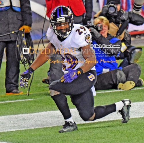 Baltimore Ravens running back, JUSTIN FORSETT, scores against the New England Patriots in the third quarter giving the Ravens a 28-14 lead. The Patriots rallied in the fourth quarter to win 35-31.