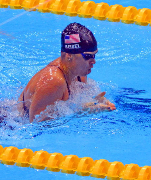 USA swimmer, Elizabeth Beisel, shows her outstanding form in the Breaststroke segment of the Women's 400 Individual Medley . Beisel earned a silver medal.(AP Photo/Dick Druckman)