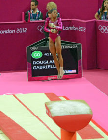 Gabrielle Douglas begins the women's individual all-around competition with a strong performance. Gabby went on to win the gold medal.(AP Photo/Dick Druckman)