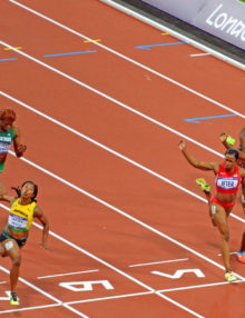 Jamaican runner, shelly-ann Fraser-pryce, defeats USA champion Carmelita Jeter by 3 hundredth of a second in the Women's 100meter in the London Olympics. Veronica Campbell Brown, from Jamaica, took the Bronze medal.