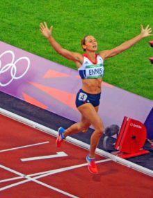 Great Britain national sports hero, Jessica Ennis, wins the women's heptathon gold medal by winning the women's 800 meter(AP Photo/Dick Druckman)