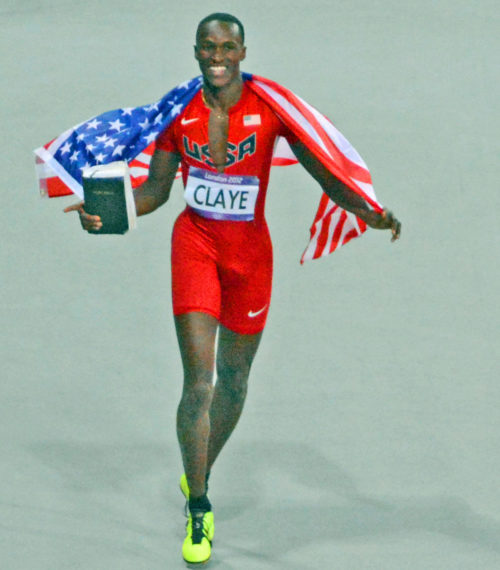 USA CLAYE WILL CELEBRATES WINNING A BROZE MEDAL IN THE MEN'S LONG JUMP