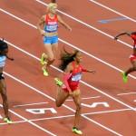 USA runner, Sanya Richards-Ross ,wins the women's 400Meter event. while her partner Trotter earns a bronze medal.