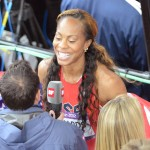 Sanya Richards-ross flashes a winning smile after winning the women's 400 meter event at the London Olympics.(AP Photo/Dick Druckman)
