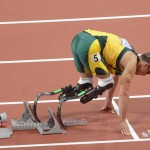 Oscar Pistorius from the Republic of South Africa gets set to compete in the Men's 400meter race with two artifical legs. Pistorius performed remarkably well given his sever handicap.(AP Photo/Dick Druckman)