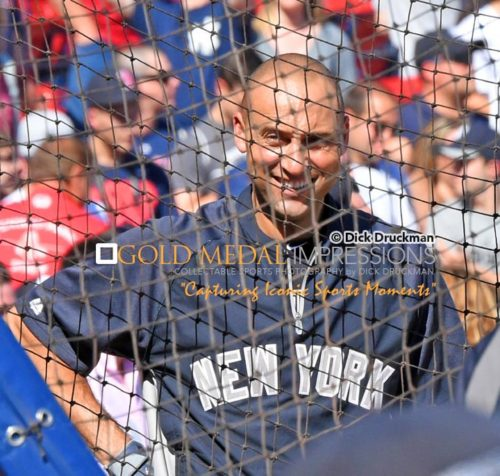 Derek Jeter takes batting practice for the last time in his ca ree against the Boston Red Sox at Fenway Park. Jeter went 1 for 2 leading the Yankees to a 9-5 victory.