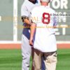 Boston Red Sox legend, Carl Yazstremski, shakes hands with Derek Jeter as part of the farewell ceremony prior to Derek Jeters last game of his career played at Fenway Park. Derek ended his career going 1 or 2, driving in a run and leading the Yankees to a 9-5 victory