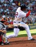 Boston Red Sox shortstop, XANDER BOGAERTS, singles off of JORDAN ZIMMERMANN. The Red Sox went on to win 9-4.(AP Photo/Dick Druckman)