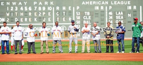 Boston baseball football basketball and hockey legends honor Derek Jeter during his farewell ceremony during his final game of his career. Derek ended his career going 1 for 2 and driving in a run with his 3,465th hit and leading the Yankees to a 9-5 victory.
