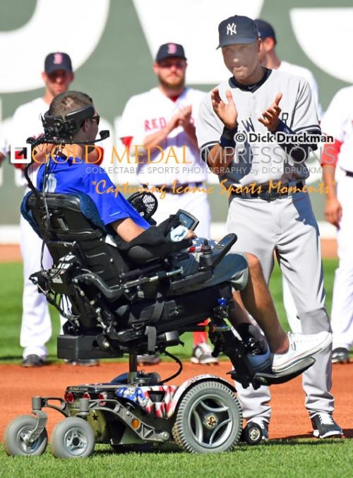 ALS awareness spokesperson from the Boston area, Peter Frates, honors Derek Jeter at his farewell ceremony prior to the final game of Derek Jeter's Career at Fenway Park. Derek ended his career getting his 3,465th hit, driving hin a run and going 1 for 2, leading the Yankees to a 9-5 victory over the Red Sox