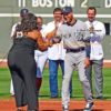 Springfield, Massachusetts recording star Michelle Brooks Thompson honors Derek Jeter at his farewell ceremony prior to his final game of his career. Derek ended his career by hitting his 3 465th hit driving in a run and leading the Yankees to a 9-5 victory.