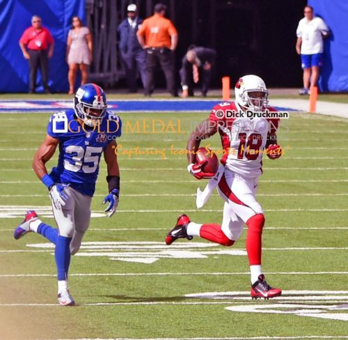 Arizona Cardinals wide receiver and punt return specialist, Ted Ginn, runs for a 71 yard punt return touchdowwn against the New York Giants in the fourth quarter at MetLife Stadium giving the Cardinals a 19-14 lead. The Cardinals went on to win 25-14.(AP Photo/Dick Druckman)