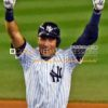 New York Yankees captain, Derek Jeter, celebrates hitting a walk-off single in the bottom of the ninth inning in his last ime at bat at Yankee Stadium. Jeter went 2 for 5, driving in 3 of the Yankees 6 runs in a 6-5 storybook ending.