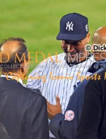 After one of the most exciting story book endings of a career, Andy Pettitte, Joe Torre, and Mariano Rivera congratulate Derek Jeter after his walk-off single in his final Yankee Stadium at-bat. Derek went 2 for 5, driving in 3 runs in a come from behind 6-5 victory.