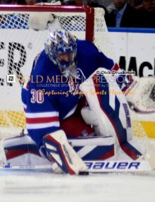 New York Rangers goalie, HENRIK LUNDQVIST, blocks a Washington Capitals shot in the first period of game 7. The Rangers went on to win 2-1 in overtime and now go on to face the Tampa Bay Lightening in the Eastern Conference Finals.(AP Photo/Dick Druckman)