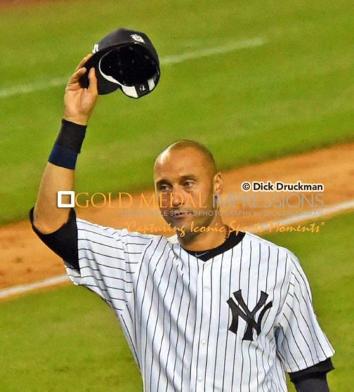 New York Yankees captain, Derek Jeter, waves good by to the fans at Yankee Stadium for the last time. Derek went 2 for 5, driving in 3 runs and hitting a walk-off single in his final Yankee Stadium at-bat