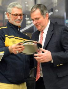 On behalf of the US SQUASH ASSOCIATION Triniity College squash coach, Paul Assaiante, presented the Lifetime Achievement Award and Induction into the Collegiate Squash Hall of Fame to Princeton University former Men's squash coach Bob Callahan.(AP Photo/ Dick Druckman)