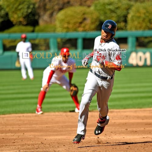 Boston Red Sox rookie center fielder, MOOKIE BETTS, rounds third base after hitting a home run in the third inning against the Philadelphia Phillies at Citizens Bank Park, giving the Red Sox a 2-0 lead. MOOKIE went 2 for 4 leading the Red Sox to a 8-0 victory.(AP Photo/Dick Druckman)
