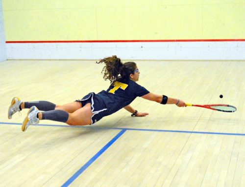 Trinity College Kanzy El Defrawy Makes One Of Her Patented Flying Shots During The Women's National Squash Individual Championships At Drexel Universiy. Kanzy Was Defeated By Harvard University Amanda Sobhy 3-0 In The Final Championship Match (AP PHOTO/DICK DRUCKMAN)