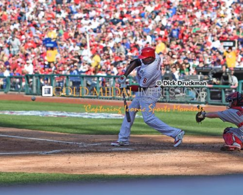 Philadelphia Phillies Ryan Howard doubles in the fourth inning against the Boston Red Sox in the Season Opener at Citizen Bank Park. The Red Sox went on to win 8-0.