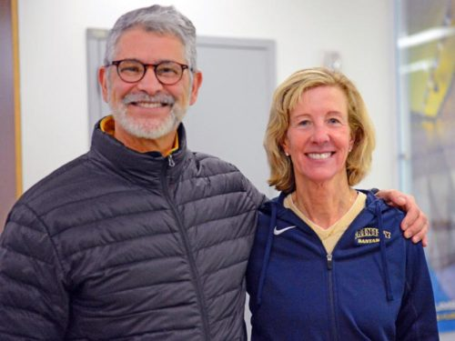 TWO OF THE VERY BEST COLLEGIATE SQUASH COACHES IN AMERICA.... WENDY BARTLETT COACH OF TRINITY COLLEGE WOMEN'S NATIONAL CHAMPIONS AND PAUL ASSAIANTE COACH OF TRINITY COLLEGE MEN'S RUNNER UP NATIONAL CHAMPION