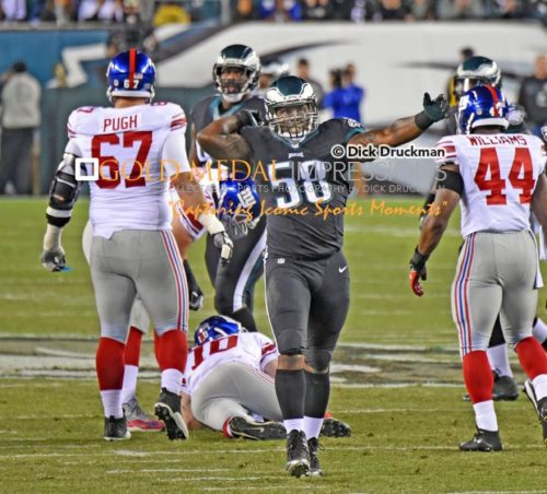 Philadelphia Eagles outside linebacker, TRENT COLE, celebrates sacking New York Giants quarterback, ELI MANNING, in the second quarter at Lincoln Financial Field. The Eagles sacked MANNING 8 times leading to a 27-0 victory.