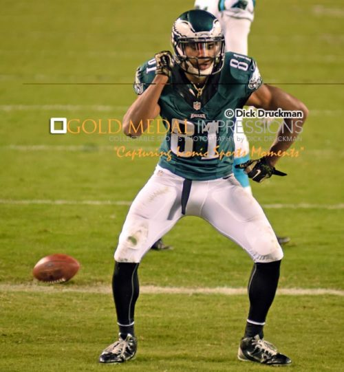 Philadelphia Eagles wide receiver, JORDAN MATTHEWS, celebrates after scoring his second touchdown against the Carolina Panthers. MATTHEWS caught 7 passes for 138 yards and 2 touchdowns to lead the Eagles to a 45-21 victory