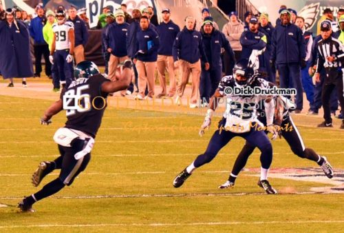 Seattle Seahawks cornerback, RICHARD SHERMAN, makes a key tackle on Eagles running back LE SEAN MCCOY in the third quarter at Lincoln Financial Field. Seattle's defense held MC COY to only 50 rushing and held the Eagles to only 139 total yards, defeating the Eagles 24-14.